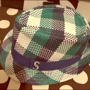 Kelly green and cobalt blue plaid paper hat